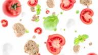 Italian Ingredients falling down (ends on green) video
