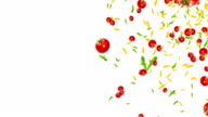 italian pasta, tomato and basil falling down on white background with space for text, mediterranean diet and nutrition concept video