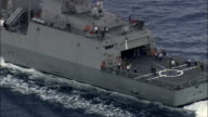 Italian Warship And Support Vessel In Straits Of Messina  - Aerial View - Sicily, Italy video
