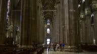 italy day light famous milan duomo cathedral walking panorama 4k video