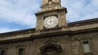 italy day milan city mercanti street palazzo giureconsulti clock front panorama 4k video