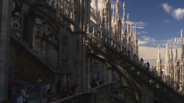 italy day time milan duomo cathedral rooftop view point tourist crowded panorama 4k video