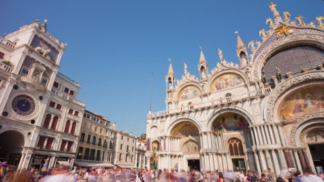 italy day venice city most famous san marko basilica square clocktower panorama 4k time lapse video