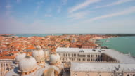 italy day venice most famous san marko campanile basilica view point city bay panorama 4k time lapse video