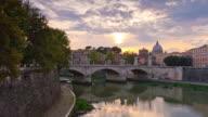 italy famous rome city tiber river bridge vatican sunset panorama 4k time lapse video