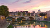 italy famous sunset rome river reflection bridge vatican panorama 4k time lapse video