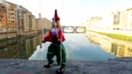 Italy Florence puppet Pinocchio in ponte vecchio video