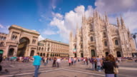 italy milan sunny day duomo cathedral galleria square panorama 4k time lapse video