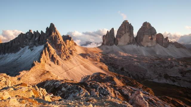 Italy mountain Dolomites Alps - Tree cime di Lavaredo, Time lapse at sunset video