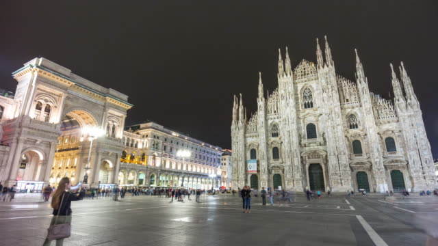 italy night duomo cathedral square galleria mall panorama 4k time lapse milan video