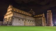 italy night illumination famous pisa cathedral front and tower duomo square panorama 4k time lapse video