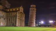 italy night light famous pisa cathedral and tower duomo square panorama 4k time lapse video