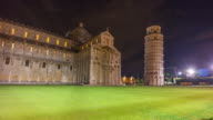 italy pisa cathedral and most famous tower night illumination panorama 4k time lapse video