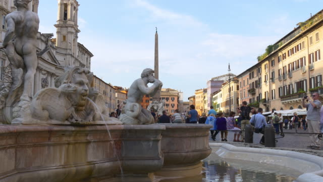 italy rome city summer sunny day piazza navona moor fountain close up view 4k video