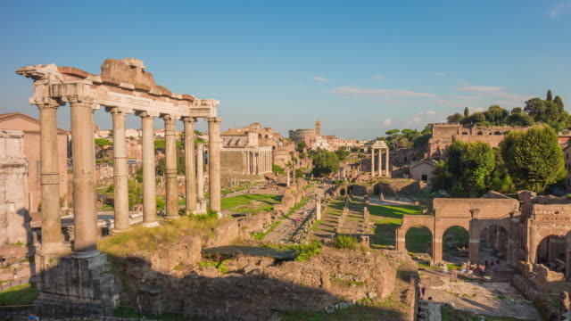 italy rome city sunny day roman forum temple of saturn panorama 4k time lapse video