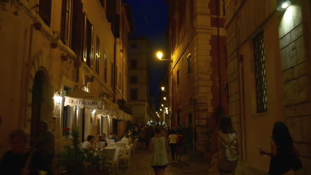 italy rome famous night time walking narrow street panorama 4k video