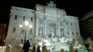 Italy Rome Trevi fountain night time lapse video