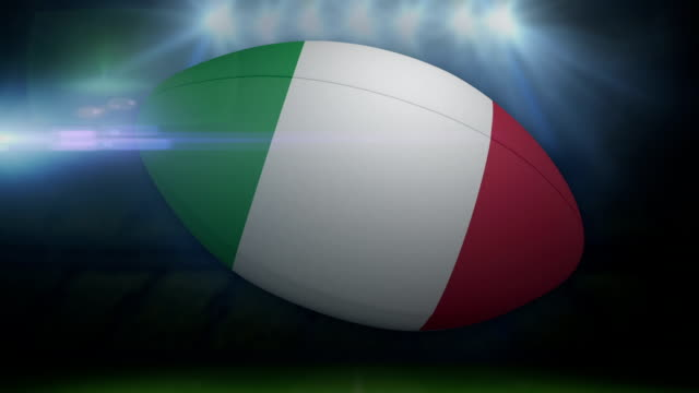 Italy rugby ball in stadium with flashing lights video
