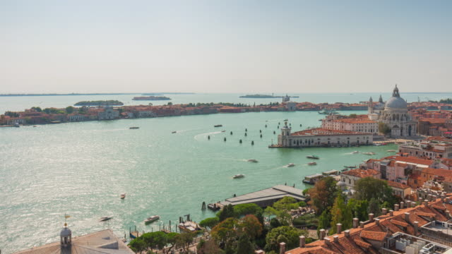 italy san marco campanile famous view point basilica sunny traffic panorama 4k time lapse venice video