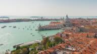 italy san marco campanile santa maria della salute basilica sunny traffic panorama 4k time lapse venice video