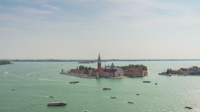 italy san marco campanile view point palazzo ducale bay san giorgio maggiore panorama 4k time lapse venice video