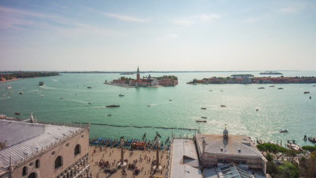 italy san marco campanile view point palazzo ducale sunny bay panorama 4k time lapse venice video