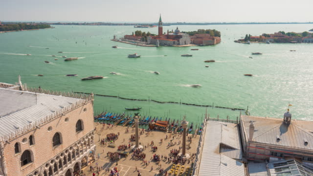 italy san marco campanile view point palazzo ducale sunny bay san giorgio maggiore panorama 4k time lapse venice video