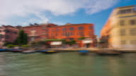 italy summer day famous venice city grand canal ferry road trip ride panorama 4k time lapse video