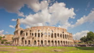 italy summer day most famous rome city colosseum front panorama 4k time lapse video
