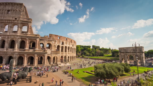 italy summer day most famous rome colosseum tourist crowded panorama 4k time lapse video
