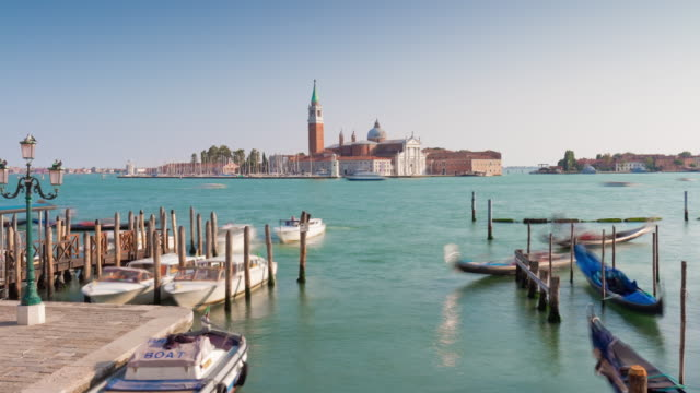 italy summer day palazzo ducale bay church of san giorgio maggiore panorama 4k time lapse video