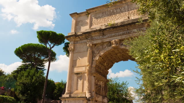 italy summer day roman forum arch of titus famous view 4k time lapse rome video