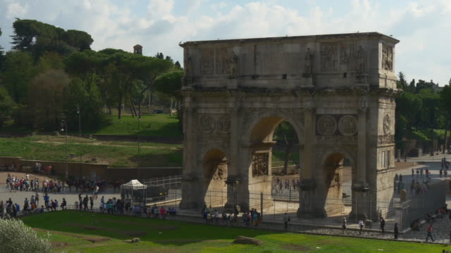italy summer day rome city arch of constantine crowded panorama 4k video