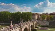 italy summer day rome famous castle of the holy angel bridge panorama 4k time lapse video