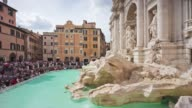 italy summer day rome famous trevi fountain side front monument panorama 4k time lapse video