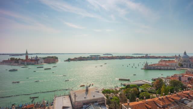 italy summer day san marco campanile view point santa maria della salute basilica panorama 4k time lapse video