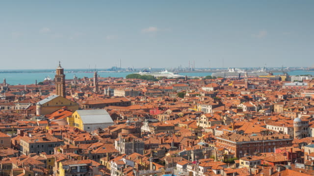 italy summer day san marco campanile view point venice aerial roof top city panorama 4k time lapse video