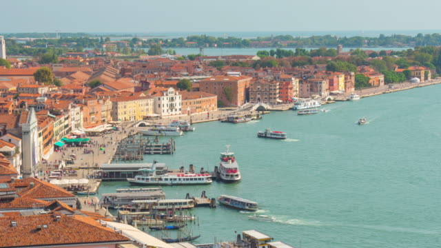 italy summer day san marco campanile view point venice city famous bay panorama 4k time lapse video
