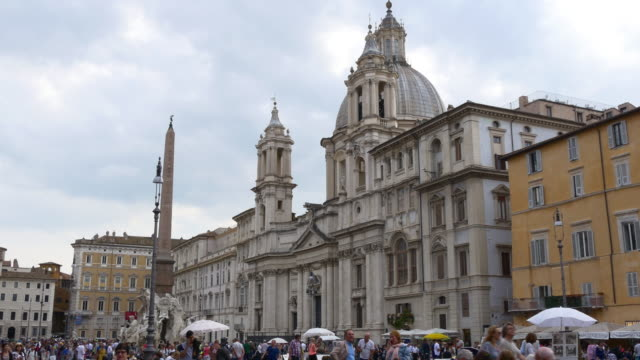 italy summer day sant'agnese in piazza navona crowded panorama 4k video