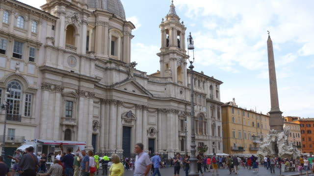 italy summer day sant'agnese in piazza navona tourist crowded panorama 4k video