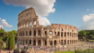 italy summer day sunny sky most famous rome colosseum panorama 4k time lapse video