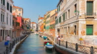 italy summer day venice city canal bridge sunny panorama 4k time lapse video