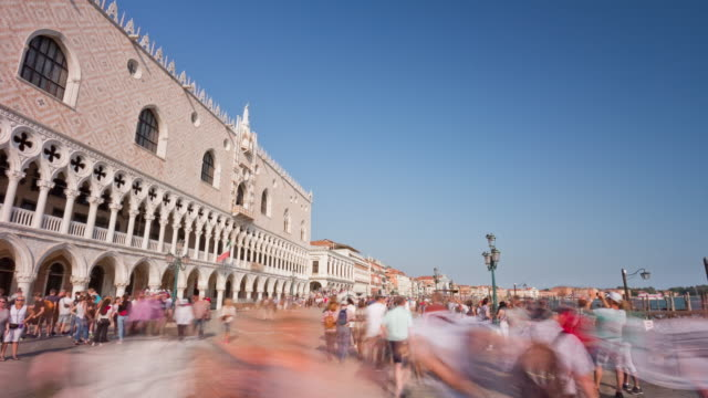 italy summer day venice city famous palazzo ducale crowded bay panorama 4k time lapse video