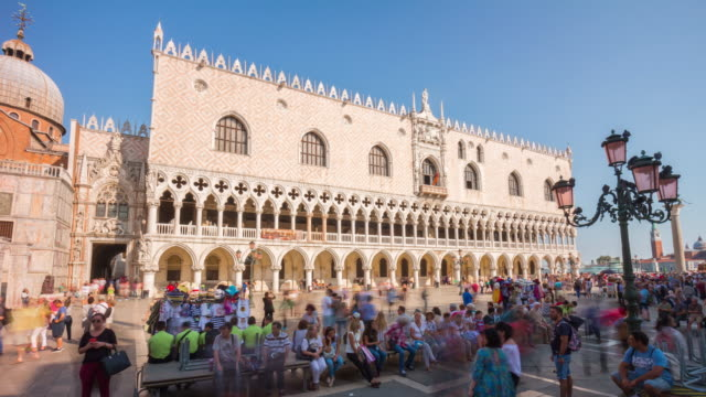 italy summer day venice city famous palazzo ducale square crowded panorama 4k time lapse video