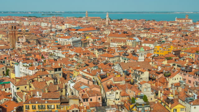 italy summer day venice city famous san marco campanile aerial cityscape panorama 4k time lapse video