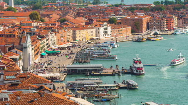 italy summer day venice city famous san marco campanile aerial traffic bay panorama 4k time lapse video