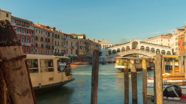 italy summer sun day famous rialto bridge traffic canal bay panorama 4k time lapse venice video