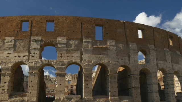 italy summer sunny day colosseum famous front wall panorama 4k rome video