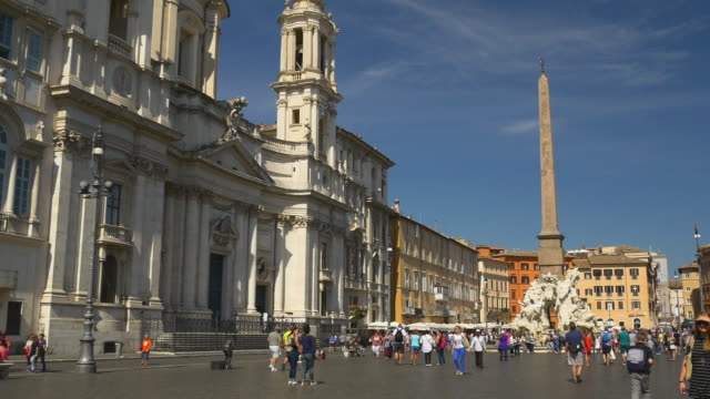 italy summer time rome city famous tourist piazza navona walking panorama 4k video
