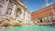 italy sun light rome city famous trevi fountain front panorama 4k time lapse video